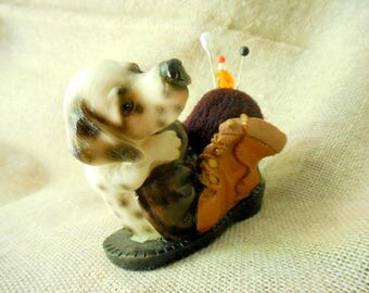 Vintage Sweet little Doggie Sitting on Old Shoe remade into Pin Cushion