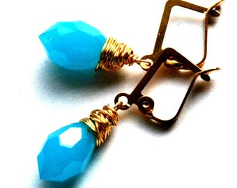 Gold Turquoise Blue Earrings / Gold Wire Wrapped Earrings Gem Cut Opaque Turquoise Crystals / Opaline Glass Blue Earrings / Blue Chandelier