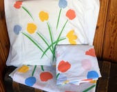SET flat fitted and standard pillow case sheet marimekko Vintage marimekko floral with modern flower tulip snow
