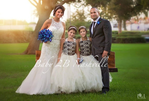 Black Lace Dress Flower Girl Dress Ivory Dress Wedding Dress Vintage Dress Baby Dress Tutu Dress Tulle Dress Toddler Dress Girls Dress