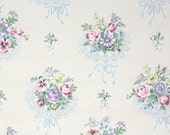 1940s Vintage Wallpaper by the Yard - Floral Vintage Wallpaper Pink Lavender and Yellow Flowers and Lace