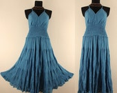 Long Blue GYPSY PRINCESS Smock Maxi Dress Hippie Boho  Plus Size 22 24 3X Gothic