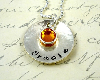 Personalized Hand Stamped Necklace - Sterling Silver  Custom Birthstone Jewelry by RoseCreekCottage
