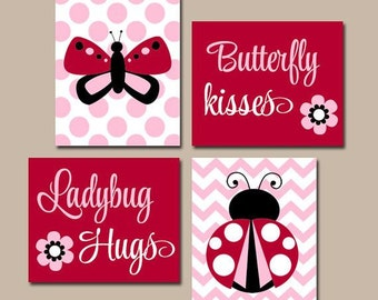 Ladybug Wall Art, CANVAS or Prints, Butterfly Kisses Ladybug Hugs, Baby Girl Quote Artwork, Red Pink, Set of 4 Above Crib Baby Decor