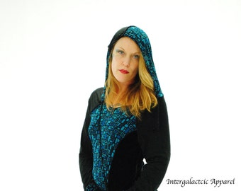 Teal and Black Hoodie with up cycled fabric