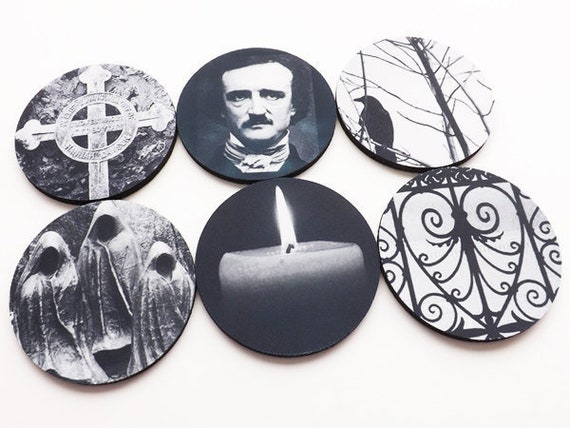 Edgar Allan Poe Coaster Halloween hostess gift party favor goth decorations trick or treat spooky macabre cemetery raven gothic decor rubber