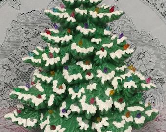 """17"""" Frazier Fir Lighted Ceramic Christmas Tree - Green"""