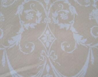"Home Decor Drapery Upholstery Athena Fabric Design by Laura Katz ""Arabesque""  Cream on Pale LinenBackground 6.75 Yards x 54"""