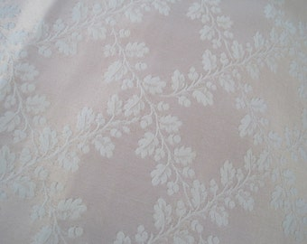 Pale Pink and Cream Satin Jacquard Home Decor Fabric Acorns and Delicate Oak Leaves 1 Plus Yards Reversible