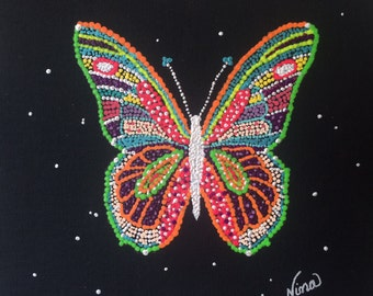 """Whimsical butterfly 8""""x8"""" black canvas board red yellow white green pink blue white"""