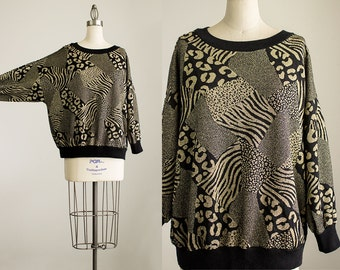 90s Vintage Black And Gold Leopard Abstract Pattern Slouchy Fit Sweater Top / Tunic Shirt / Size Small / Medium / Large