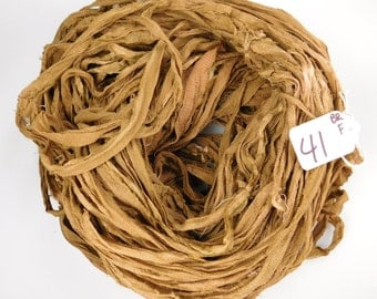 CHIFFON sari ribbon, Recycled Silk Sari Ribbon, sari silk ribbon, brown sari ribbon, tassel supply, weaving supply, knitting supply
