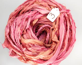 Sari silk ribbon, Recycled Silk Sari Ribbon, Silk Sari ribbon, Pink sari ribbon, weaving supply, knitting supply