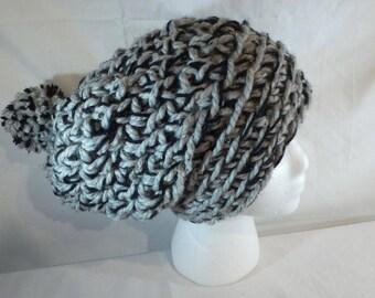 Slouchy Womans Beanie Crochet Hat Chuncky Beanie Hat Pom Pom Beanie