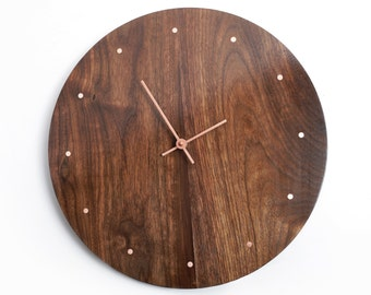 Solid Wood Wall Clock - Walnut and Copper