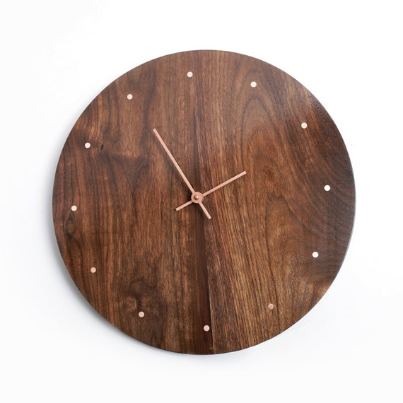 solid wood wall clock walnut and copper