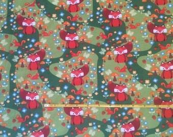NEW Riley Blake Fox on green cotton Lycra  knit fabric 1 yard