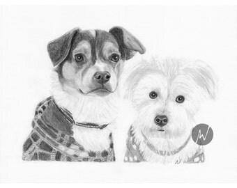 Pet Portrait, Custom Dog art, Sketch From Photo, Pencil Sketch, Digital File, Personalized Pet Art, Pet Memorial, Dog Drawing, Inklets