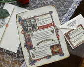 Qty 50- Medieval Renaissance Royal Aged Scroll Wedding Invitations Response Card RSVP Thank You Cards king queen fair sweet 15 16 fairy tale