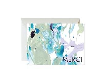 MERCI Aqua Eucalyptus Lilac Marble Notecards + Envelopes Pack   Boxed Set (8)   Abstract   Modern