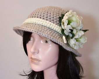 Womens Cloche Hat Cloche Hat Ladies Summer, 2 Looks Romantic or Sophisticated Look, Linen color Hat Crochet 1920's Style  Gift for Her,