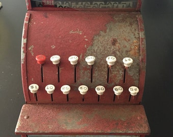 Vintage Red Tom Thumb Metal Cash Register Toy