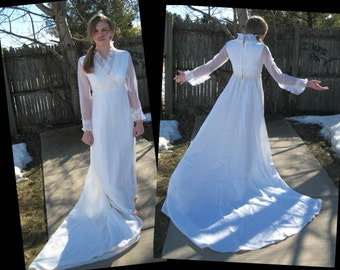 Vintage Wedding Dress - 1970s Wedding Gown - Empire Waist - White Wedding Dress - Cathedral Train - Removable Train - Small (3565-W)