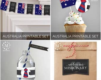 INSTANT DOWNLOAD - AUSTRALIA -  Missionary Farewell Welcome Home Decoration Printable Set for Elders