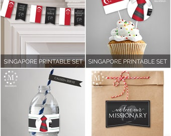 INSTANT DOWNLOAD - SINGAPORE -  Missionary Farewell Welcome Home Decoration Printable Set for Elders