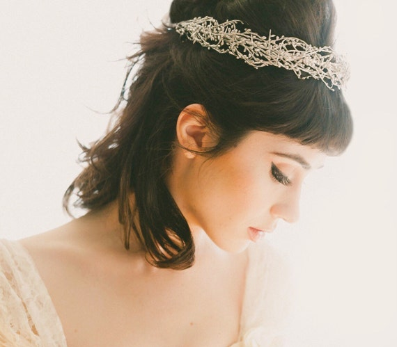 Wired woodland crown, GOLD or SILVER, Golden bridal headpiece, Silver wedding crown, Gold bridal head piece, Winter wedding, WG04