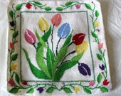 Vintage Floral Completed Needlepoint Embroidery Canvas