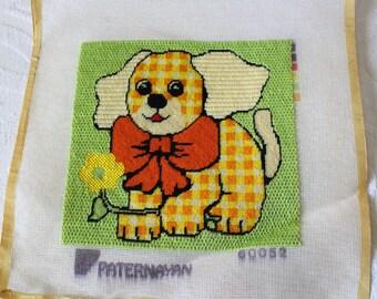 Vintage Plaid Dog Paternayan Needlepoint Embroidery Canvas