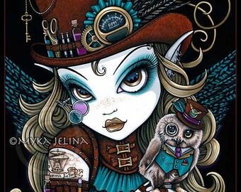 Steampunk Owl Aviatrix Fairy Art Jewels 4X6 PRINT