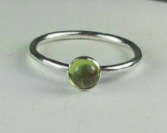 Small Peridot Ring, Green Stacking Ring, Size 3 Ring, August Birthstone, Fine Silver, Peridot Stacking Ring, Gemstone  Maggie McMane Designs