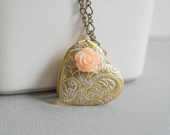 White Patina Heart Locket Necklace. Pink Rose Photo Locket Floral Shabby Chic Long Necklace