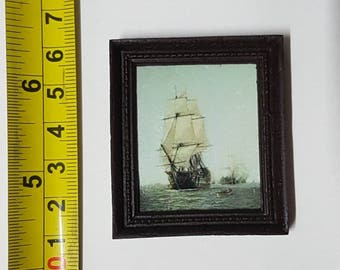 Framed painting Sailing ship - for 1:12 dollhouse