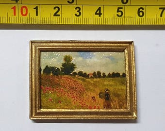 Renoir framed painting Poppy field - for 1:12 dollhouse