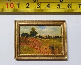 Renoir framed painting Poppy field - for 1:12 dollhouse