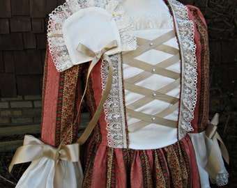Girls Colonial Dress/ Cap included /Made to Order ONLY(PLEASE read lead time inside of ad)