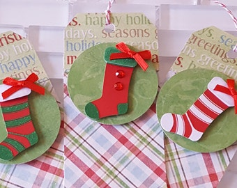 Red and Green Christmas Stockings Gift Tag Set, Plaid Collection