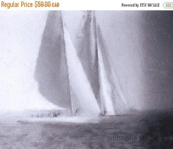 SALE-35% OFF, Canvas Giclee Print, Giclee Canvas Print, Nautical Art, Ships, Sailing Ships, Pearl Grey,  Expressionism Art,  Modern Art, Hom