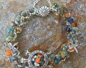 Turtle and Dragonfly Sterling Silver Bracelet by Penny Michelle
