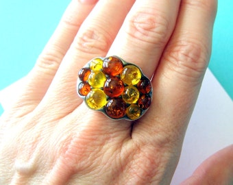 Baltic Amber and Sterling Silver Cluster Ring Size 8.5