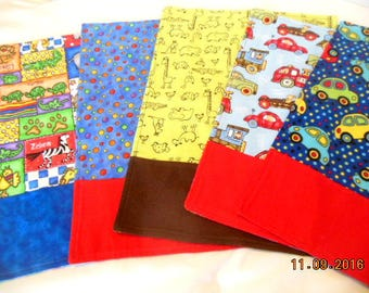 Set of Five Flannel Boy Baby Burp Cloths/Changing Pads
