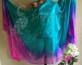 Rectangular belly dance silk veil Turquoiae, electric blue, hot pink circular pattern 3-1/2 OOAK