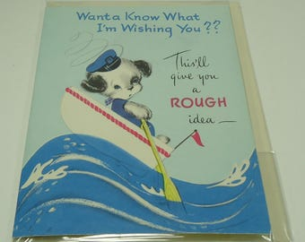 Dog Sailing Rough Seas Happy Birthday Vintage Greeting Card With Envelope