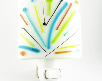 Bright Colorful Abstract Fused Glass Night Light in Turquoise Blue Lime Green Yellow Orange Black and White