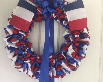 Wreath French Patriotic 18 inch Blue White Red Ribbon Wreath France 46 cm
