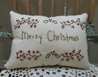 Decorative Merry Christmas Pillow, Hand Stitched, Winter, Pine and Berries