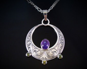 Hand Engraved Art Nouveau Inspired Sterling Silver And Amethyst And Peridot Necklace